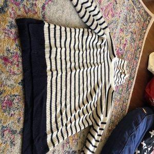 Navy Striped, Cream Turtleneck Sweater